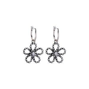 Crystal Flower Silver Vintage Hoop Earrings